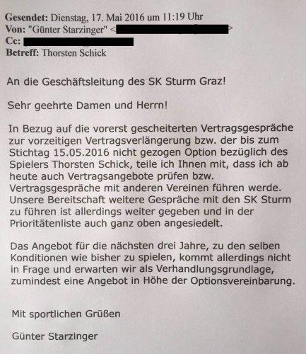Nach dieser E-Mail erklärte Günter Kreissl die Verhandlungen für beendet.